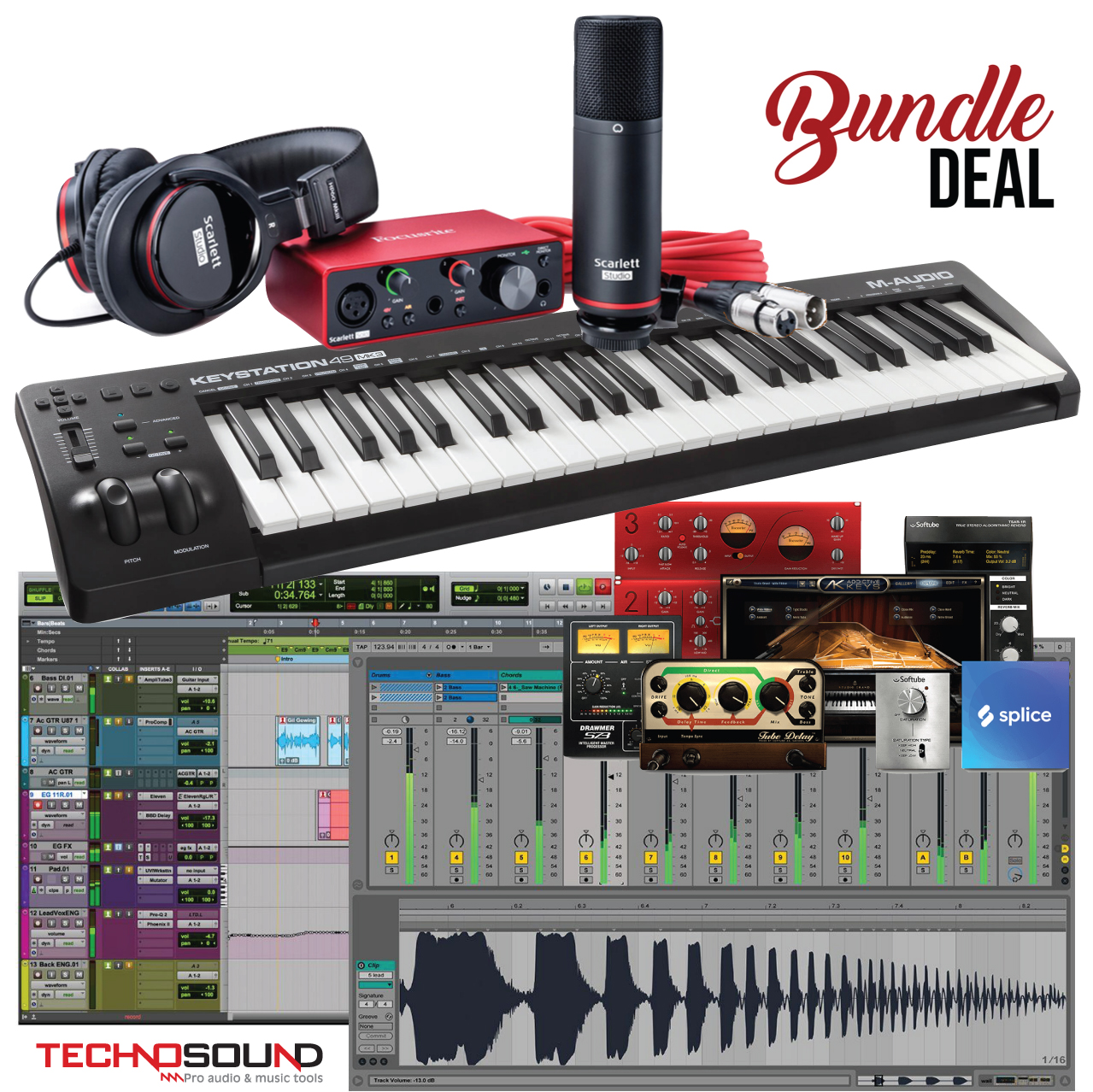 Scarlett Solo Studio Pack (3nd Gen) + M-Audio Keystation 49 MK3